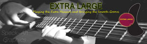 Photo of a advertising banner for a band called Extra Large