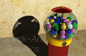 3D animated png. of a gumball machine