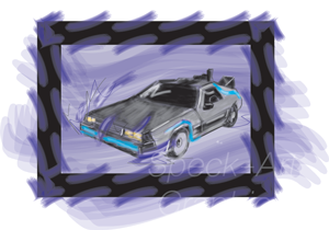 Graphic of a Delorean brand car in purple with watercolor effect