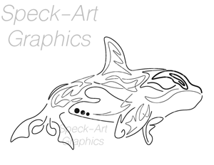 tribal-style graphic of a black killerwhale on a white background