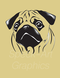 Graphic of a black Pug-breed dog on a yellow background