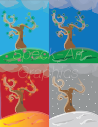 Graphic of trees representing the four seasons